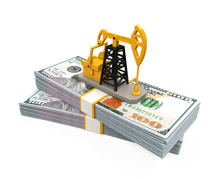 crude: Oil Pump and Dollars Stock Photo