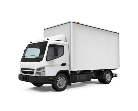white boxes: Delivery Van Isolated Stock Photo
