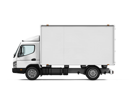 containers: Delivery Van Isolated Stock Photo