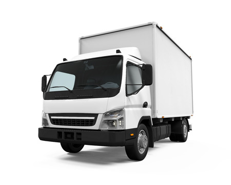 truck road: Delivery Van Isolated Stock Photo