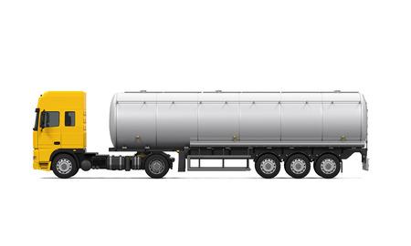 노란색 연료 탱커 트럭
