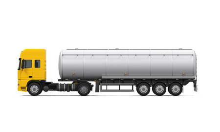 camion: Cami�n de petrolero del combustible Amarillo Foto de archivo