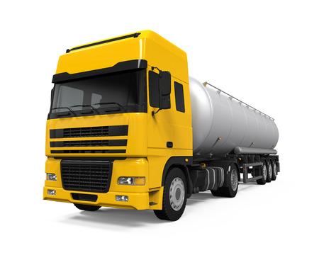 camión cisterna: Camión de petrolero del combustible Amarillo Foto de archivo