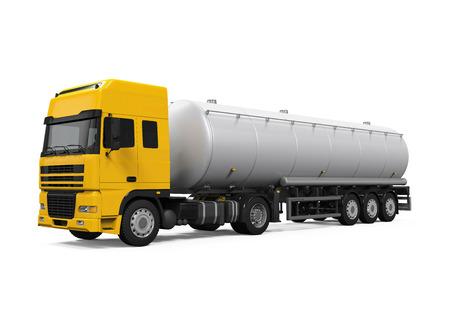 szállítás: Sárga Üzemanyag Tanker Truck Stock fotó