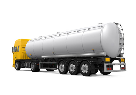 cami�n cisterna: Cami�n de petrolero del combustible Amarillo Foto de archivo