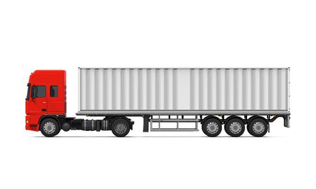 haul: Red Cargo Delivery Truck Stock Photo