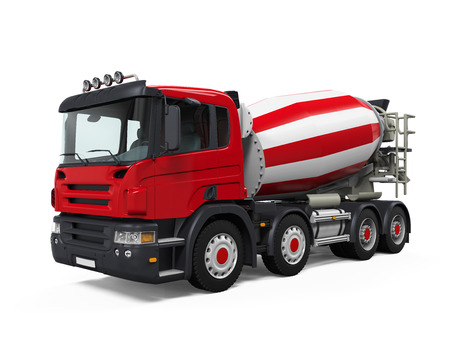 concrete mixer truck: Red Concrete Mixer Truck
