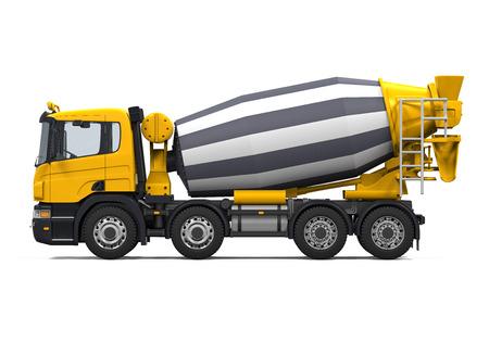노란색 콘크리트 믹서 트럭