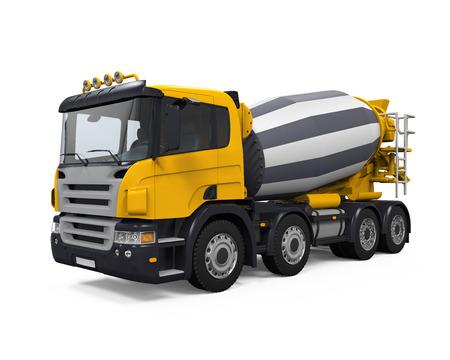 Yellow Concrete Mixer Truck 스톡 콘텐츠
