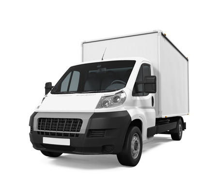 mail delivery: Delivery Van Isolated Stock Photo