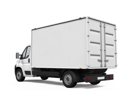 white backgrounds: Delivery Van Isolated Stock Photo