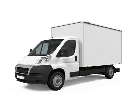 white car: Delivery Van Isolated Stock Photo