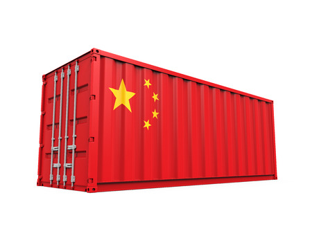 container port: Container with China Flag