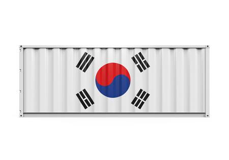 dockyard: Container with Korea Flag Stock Photo