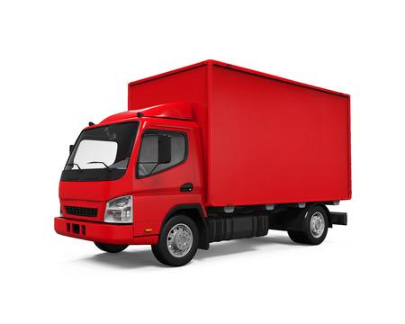 camion: Red Entrega Van Foto de archivo