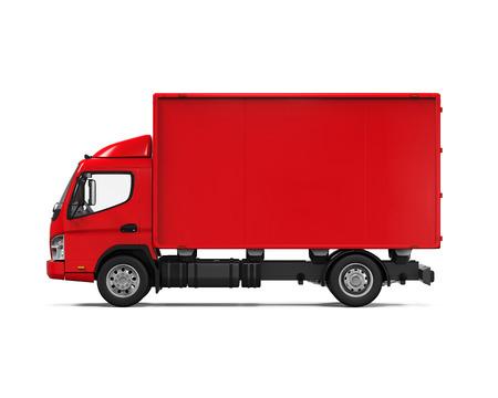 ciężarówka: Czerwony samochód dostawczy