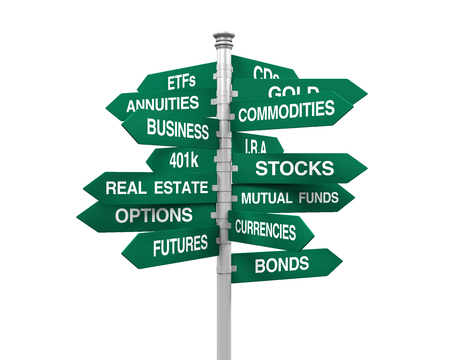 direction sign: Types of Investments Direction Sign