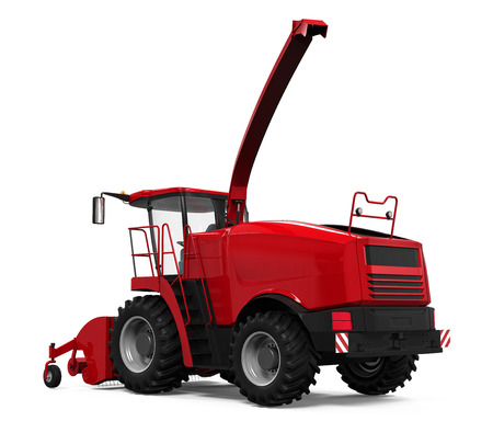 tractor in field: Red Forage Harvester