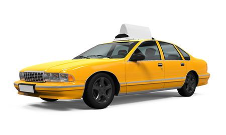 分離された黄色のタクシー