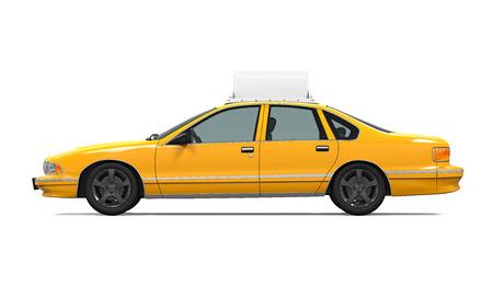 cab: Taxi amarillo aislado Foto de archivo