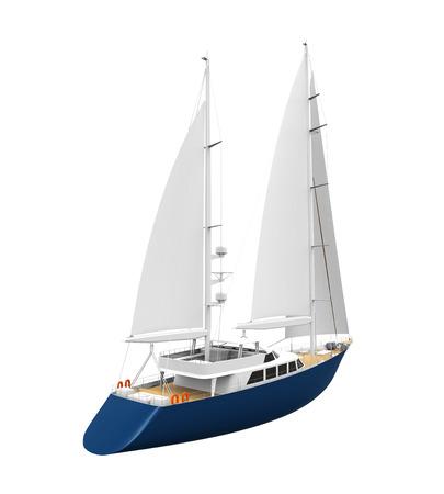 yacht isolated: Sailing Yacht Isolated Stock Photo