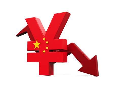 economics: Chinese Yuan Symbol and Red Arrow Stock Photo