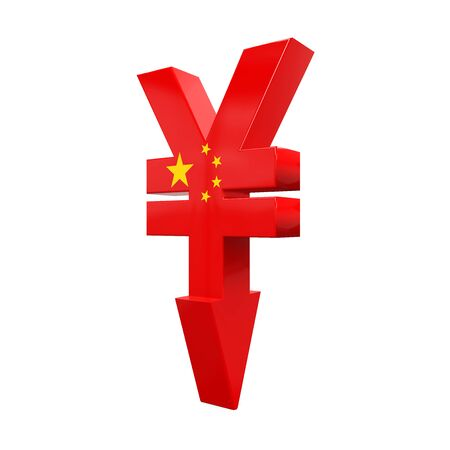 monetary devaluation: Chinese Yuan Symbol and Red Arrow Stock Photo