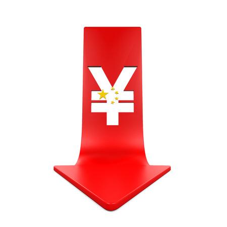 bolsa de valores: Yuan Símbolo chino y la flecha roja Foto de archivo