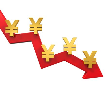 downturn: Chinese Yuan Symbol and Red Arrow Stock Photo