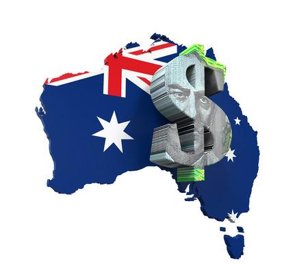 bandera blanca: Símbolo del dólar y del mapa de Australia