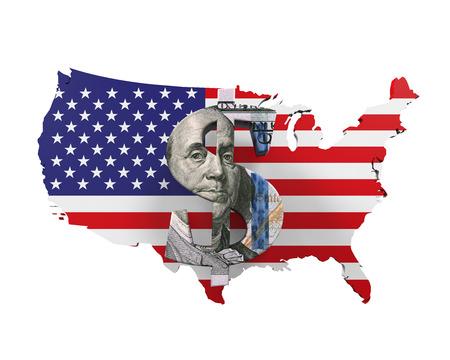 US Dollar Symbol and Map
