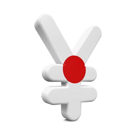 global finance: Japan Yen Symbol with Flag Stock Photo