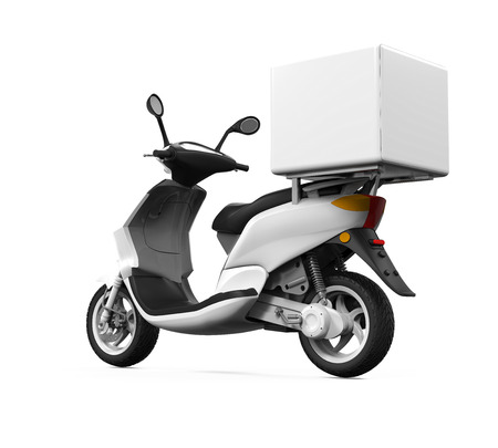 scooter: Caja de entrega de la motocicleta Foto de archivo