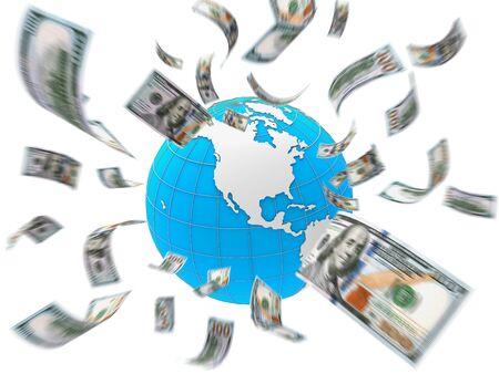 dollar bills: Dollar Bills Flying Around the Globe