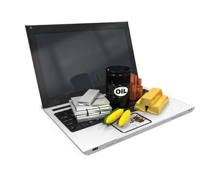 commodities: Commodities art�culo en la computadora port�til Foto de archivo