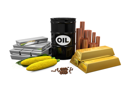 Commodities - Oil, Gold, Silver, Copper, Corn and Coffee Beans Stock Photo