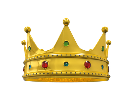 crowns: Gold Royal Crown with Jewels Stock Photo