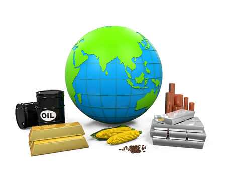 commodities: Commodities Item and Globe Stock Photo