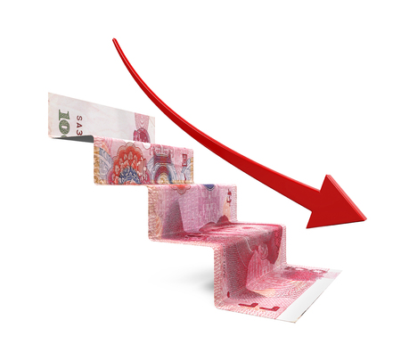 economy: Chinese Yuan Staircase Origami