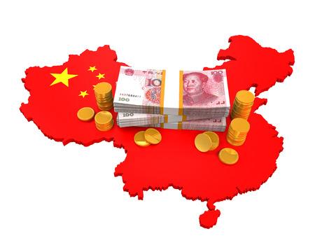 mapa de china: Yuan chino y Mapa