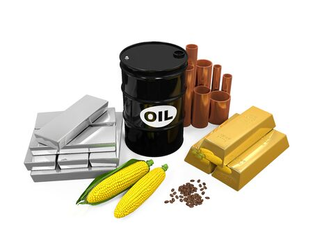 commodities: Commodities - petróleo, oro, plata, cobre, maíz y granos de café