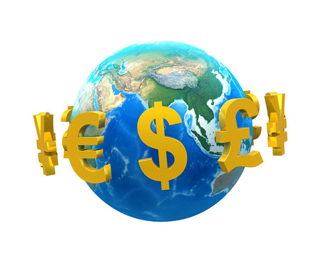 foreign: Global Currencies Around a Globe Stock Photo