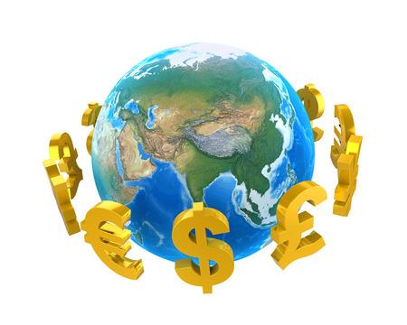 international money: Global Currencies Around a Globe Stock Photo