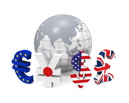 foreign exchange: Global Currencies Around a Globe Stock Photo