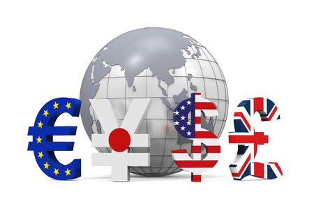 japanese currency: Global Currencies Around a Globe Stock Photo