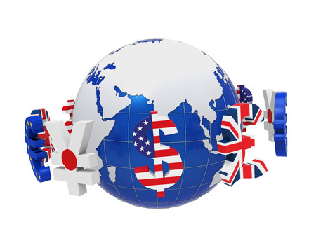 global currencies: Global Currencies Around a Globe Stock Photo