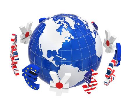 Global Currencies rond een bol Stockfoto