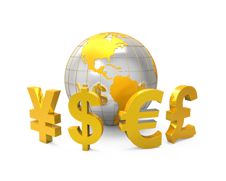 Global Currencies Around a Globe Stock Photo