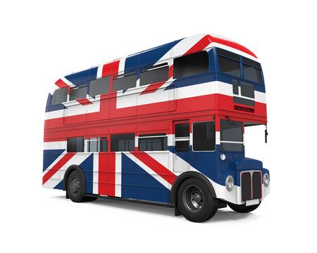 bandera de gran bretaña: Autobús de dos pisos de la bandera de Gran Bretaña Foto de archivo