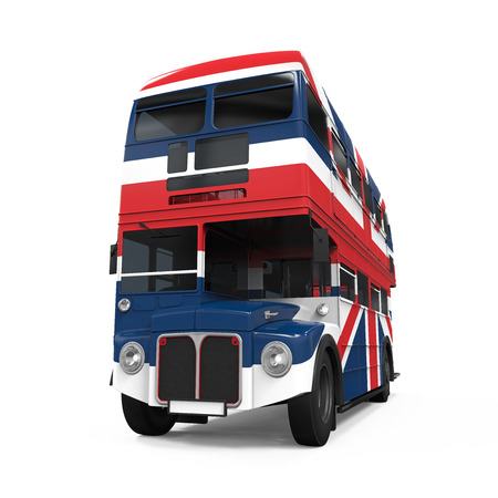 double decker: Double Decker Bus Britain Flag